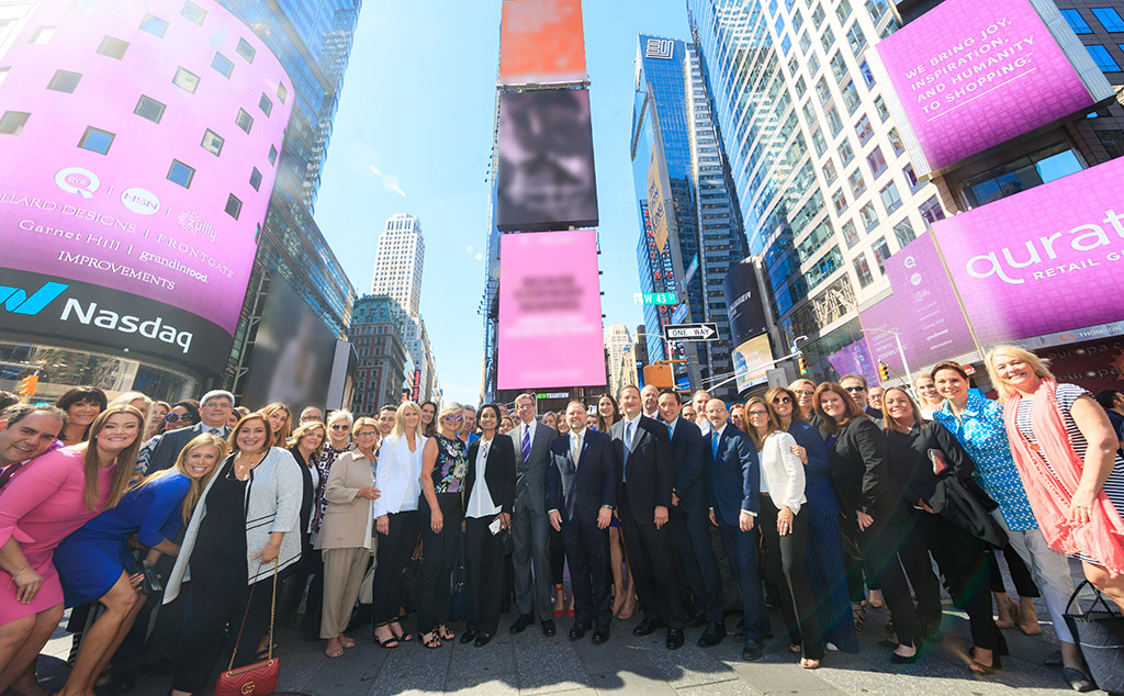 The Qurate Retail Team on Times Square (Photography by Libby Greene/Nasdaq, Inc.)