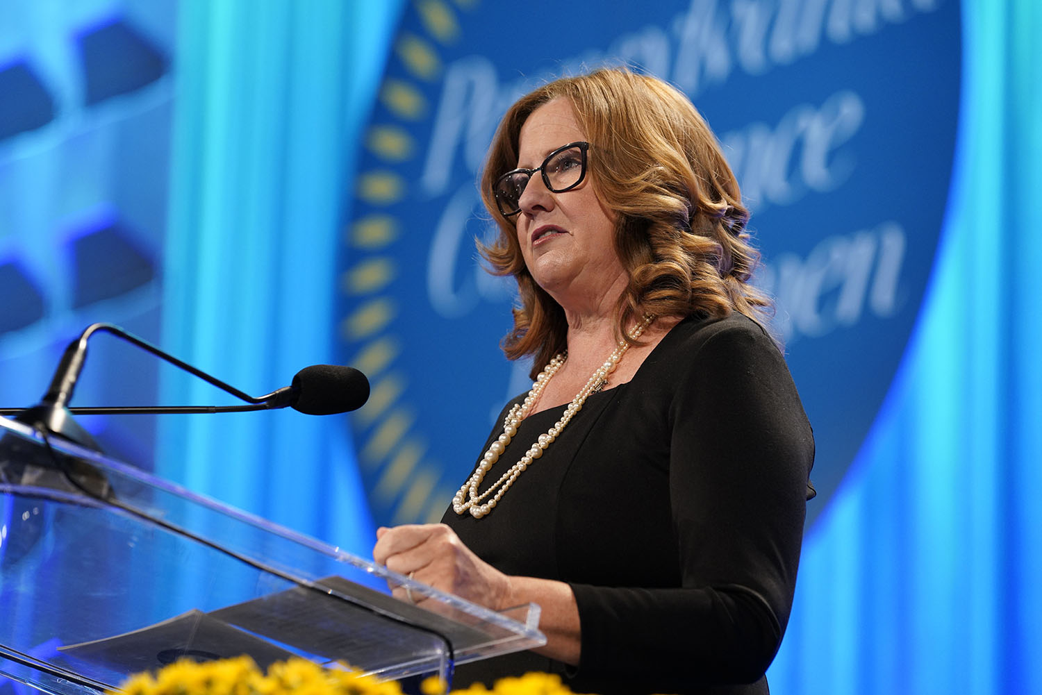 Chief information officer of Qurate Retail Group Karen Etzkorn speaks on stage during Pennsylvania Conference for Women 2018 at Pennsylvania Convention Center on October 12, 2018 in Philadelphia, Pennsylvania.  (Photo by Marla Aufmuth/Getty Images )